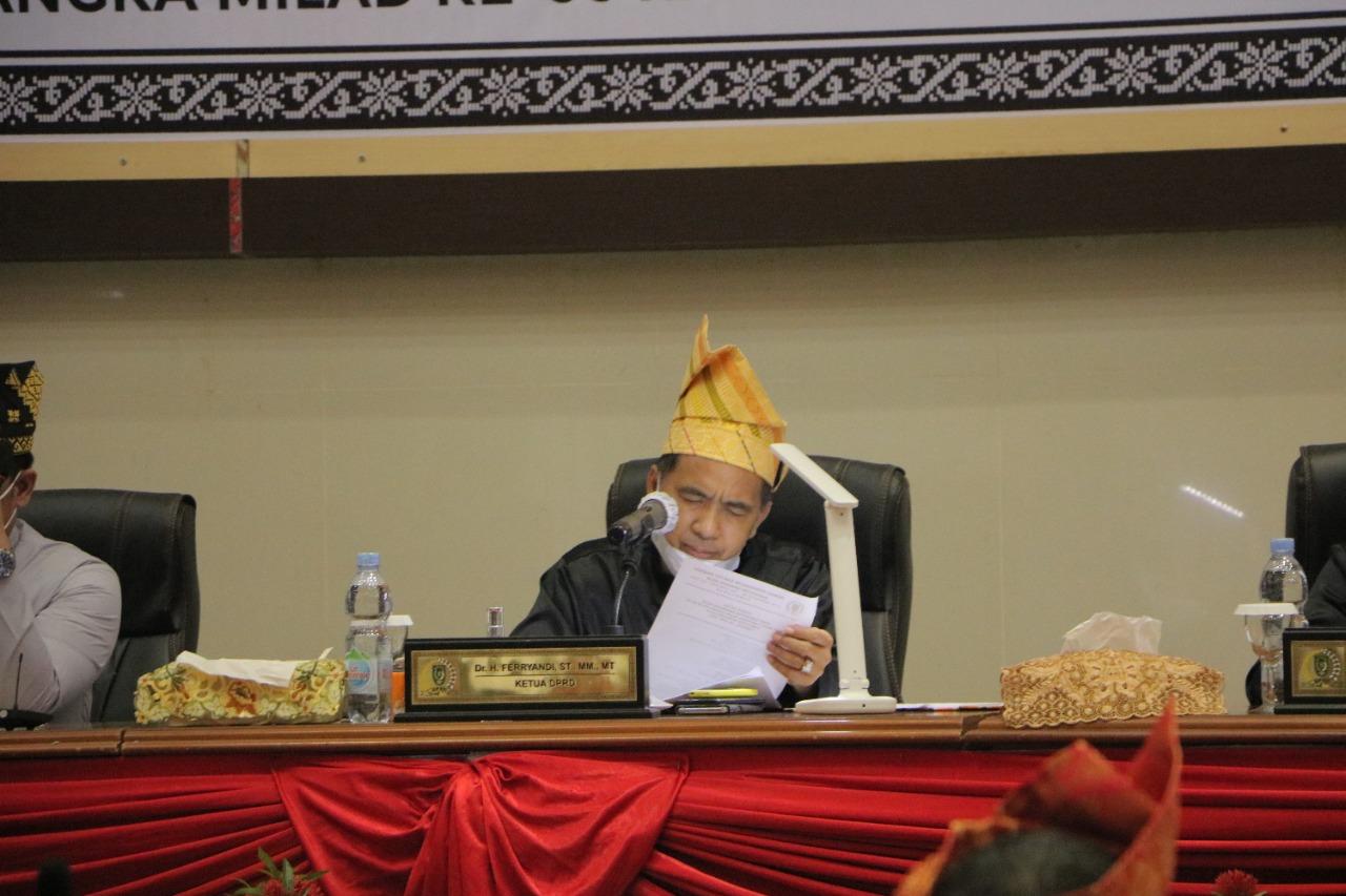 Ketua DPRD Pimpin Rapat Paripurna Milad Inhil ke-56