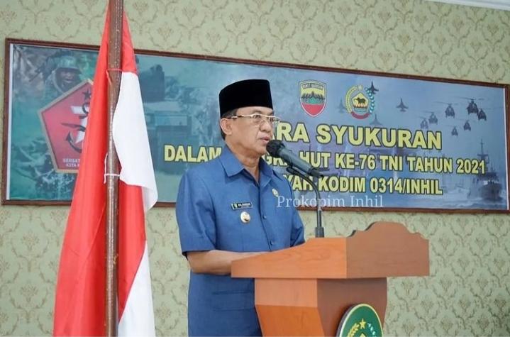 Bupati dan Dandim 0314/Inhil Ikuti Peringatan HUT ke-76 TNI Secara Virtual